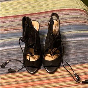 Black Booties heels open toe 8.5 leather suede NEW
